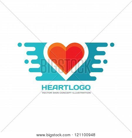 Red heart - vector logo concept illustration in flat style design. Heart logo sign. Valentine's Day.