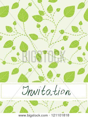 Invitation Blank With Leaves Pattern -  Illustration