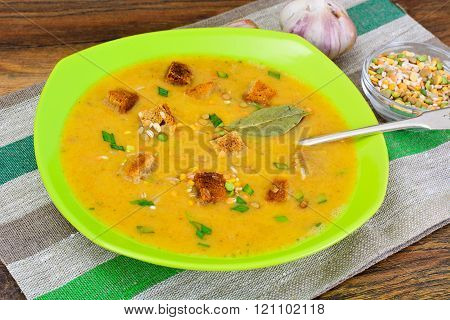Healthy and Diet Food: Soup with Lentils, Celery