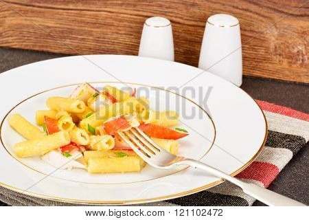 Pasta with Crab Sticks and Cheese