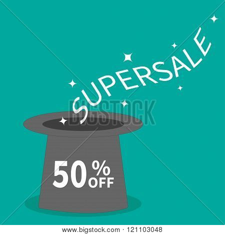 Magic Hat. Supersale Tag. Sale Background. Big Sale. Special Offer. 50 Percent Off. Flat Design.