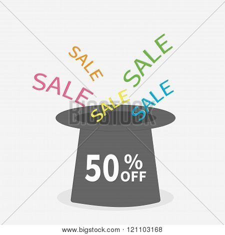 Magic Hat.  Sale Background. Big Sale. 50 Percent Off.  Supersale Tag. Special Offer. White Backgrou