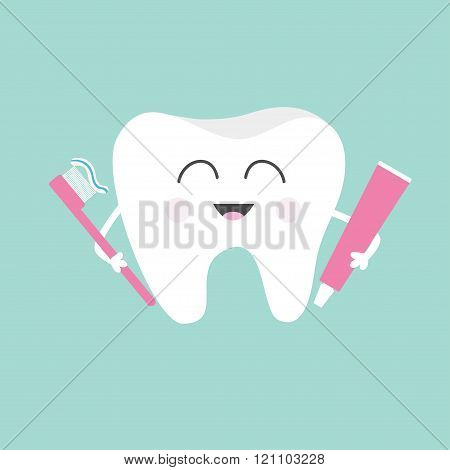 Tooth Holding Toothpaste And Toothbrush. Cute Funny Cartoon Smiling Character. Children Teeth Care I