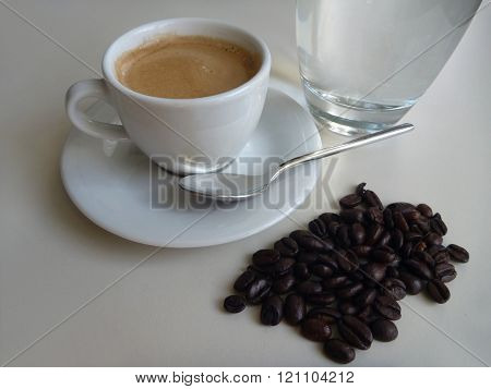 Cup Of Fresh Tasty Coffee With Coffee Beans