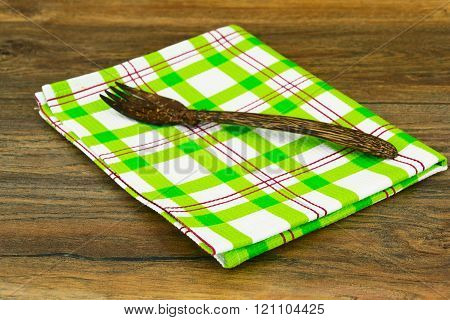 Kitchen Napkins Serving on Wood background.