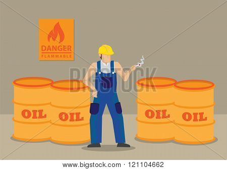 Smoking Near Flammable Objects At Workplace Cartoon Vector Illustration