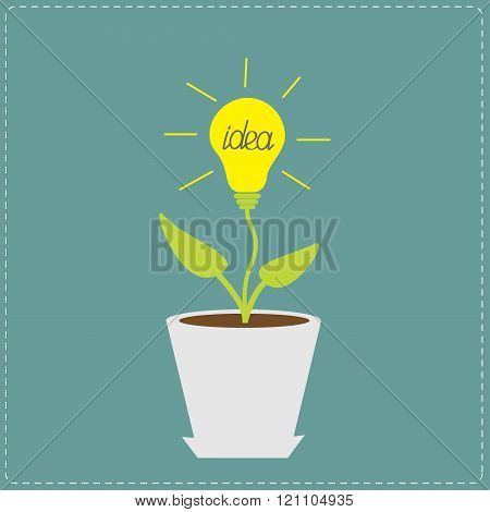 Plant In The Pot With Lamp Bulb. Growing Idea Concept.