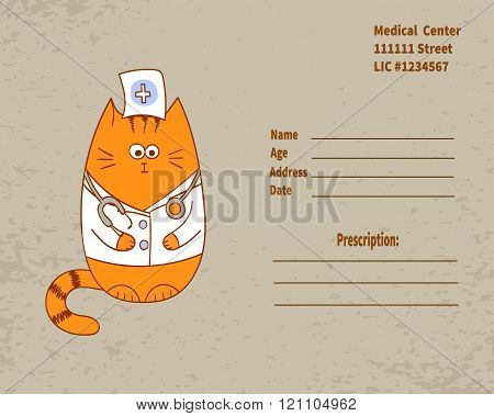 Prescription form with cute cat doctor.