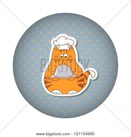 Funny fat cat cook on dots round background.