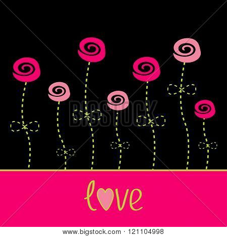 Roses  With Dash Line Stalks. Vector Love Card. Black, Pink And
