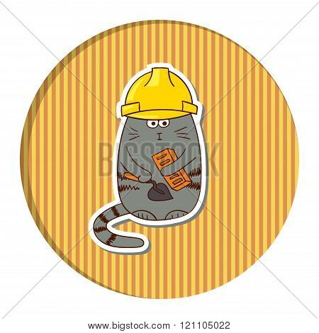 Funny cartoon cat builder in helmet on stripped background.