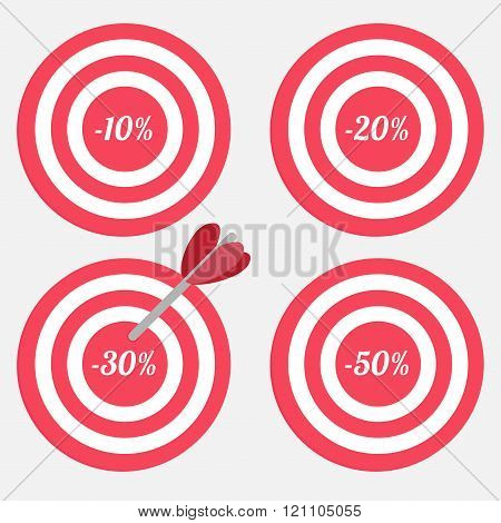 Set Of Targets With Sale Percent Sign.