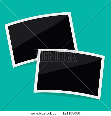 Two Rectangular Instant Photos. Flat Design.