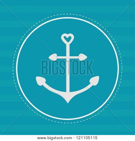 Round Label With Anchor In Shapes Of Heart. Dash Line. Striped B
