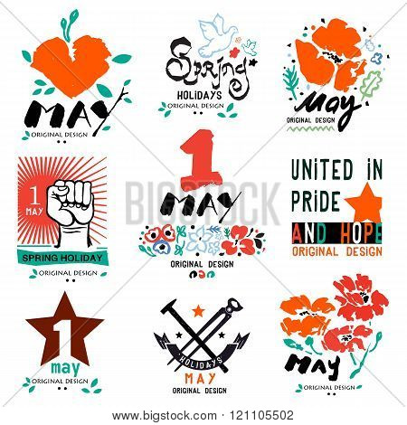 May 1 logo. Holiday of labor and spring, logo, a symbol. Socialism, equality, fraternity logo, sign.