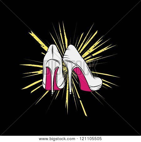 Vector illustration of a pair of high stiletto heel shoes with pink soles on a grungy background, sy