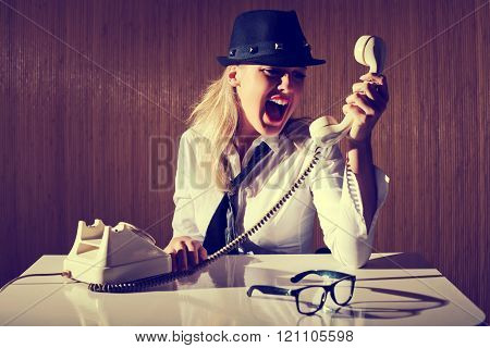 Retro styled businesswoman