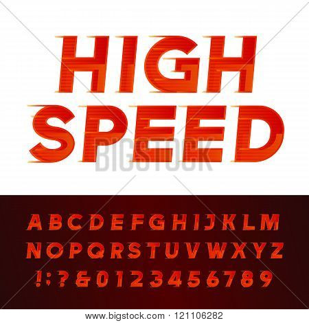 High Speed alphabet vector font. Motion effect letters and numbers.