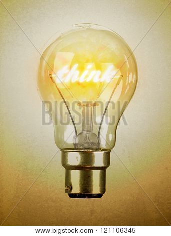 Lightbulb With The Word Think