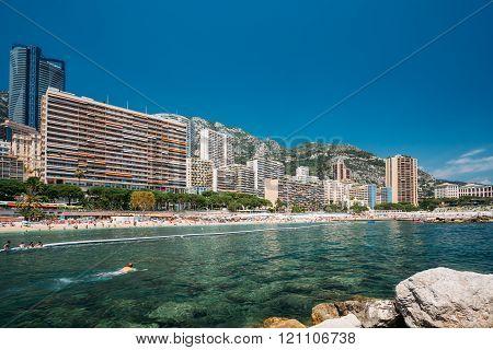 Scenic view of beach of city of Monte Carlo, Monaco.