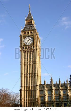 Big Ben, The Clock Tower Of The Palace Of Westminster.
