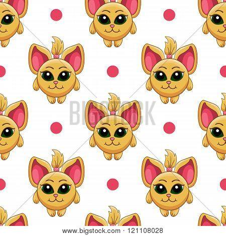 Seamless Pattern With Cartoon Cat