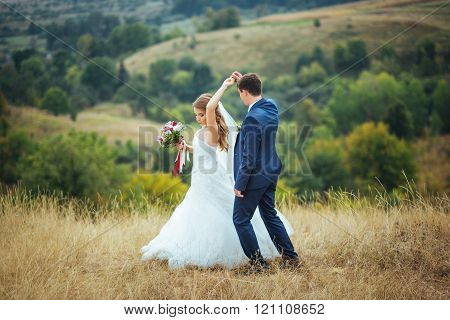 Wedding walk on nature