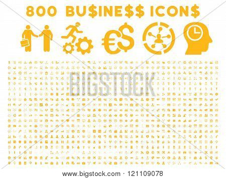 800 Flat Glyph Business Icons