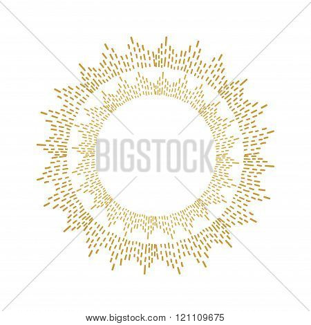 Round golden sparkle frame.