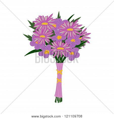 Bouquet of flowers in purple colors isolated on white
