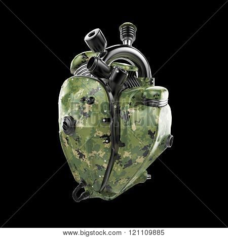 Diesel punk military robot techno heart. engine with pipes, radiators and camouflage metal hood part