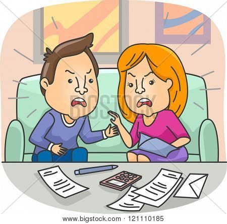 Illustration of a Couple Having a Conflict with their Financial Issues