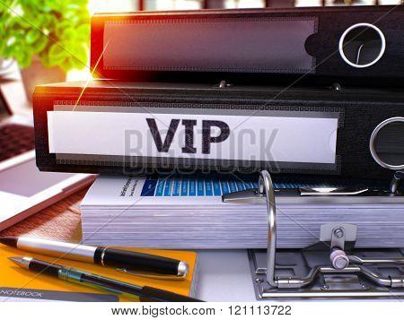 VIP on Black Office Folder. Toned Image.