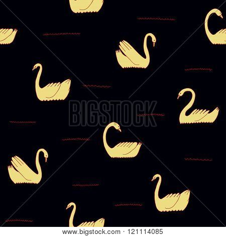 Beautiful Seamless Pattern With Swans.