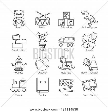 A collection of minimalistic thin line icons for various toys' kinds and categories and activities f
