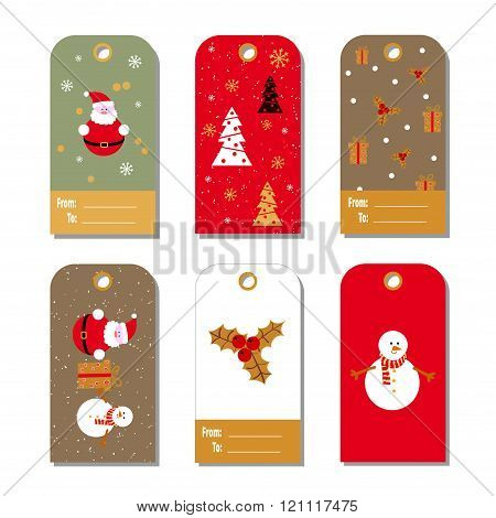 Set of colorful Christmas gift tags