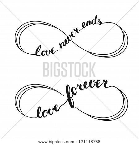 Infinity love symbol tattoo with infinity sign. Hand written calligraphy lettering text Love Forever