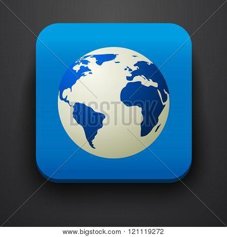 Globe symbol icon on blue