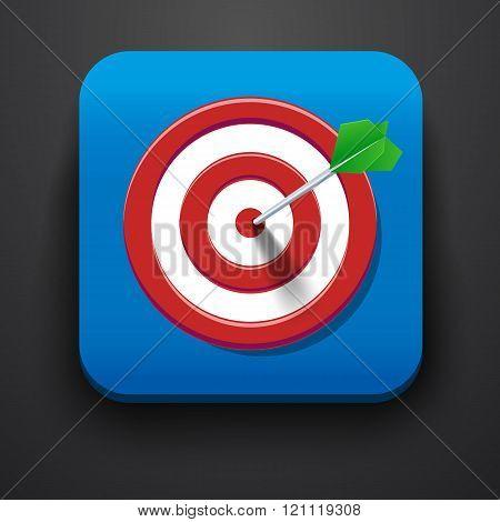 Target symbol icon on blue