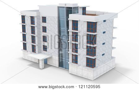 3D Contemporary Apartment Block
