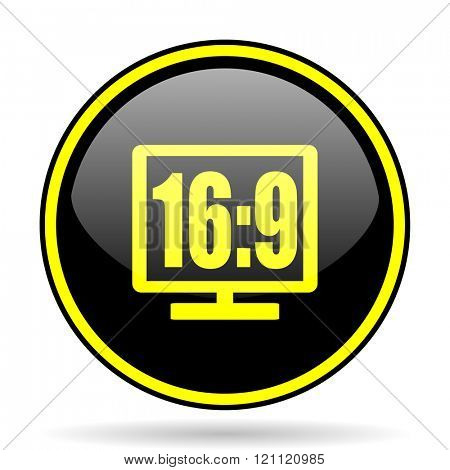 16 9 display black and yellow modern glossy web icon