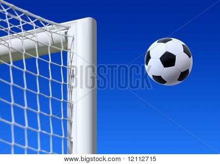 football entering the net scoring a goal