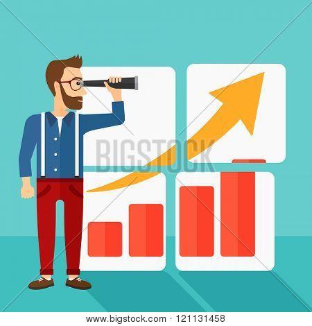 Man looking at positive bar chart.