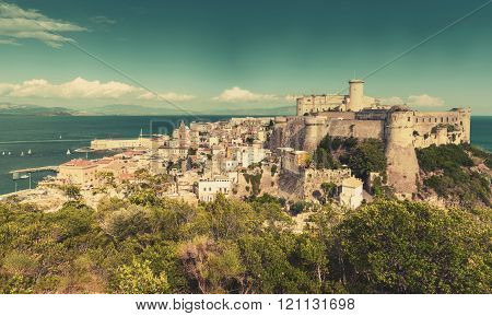 Gaeta View With Ancient Castle On Coastal Rock