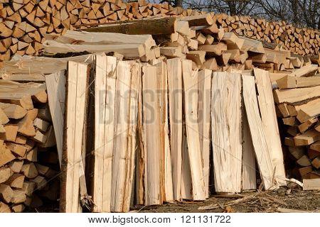 Wintervorrat meters chopped firewood - detail perspective