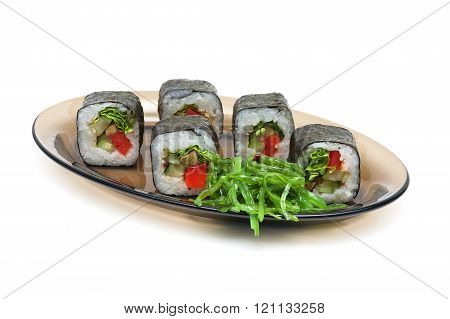 Japanese Rolls On A Plate On A White Background