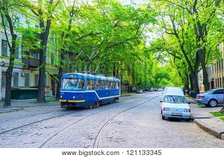 The blue tram