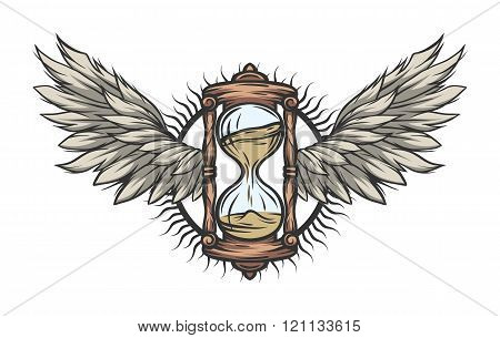 Hourglass and wings, Color version.