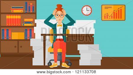 Despair woman espair sitting in office.