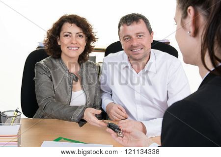Smiling Business Woman And Man At Job Interview In Office